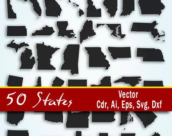 United States Vector, 50 states clip art, All Usa states, Ai, Svg, Cdr, Eps, Dxg. States map vector