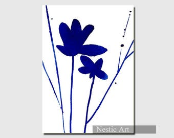 Flower Indigo, watercolors, blue minimalist art, contemporary art, abstract art, illustration, printable download, 5x7, 8x12, A4