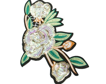 Free Shipping! Floral White Sequins Embroidered Iron-On Patch, Embroidery Applique