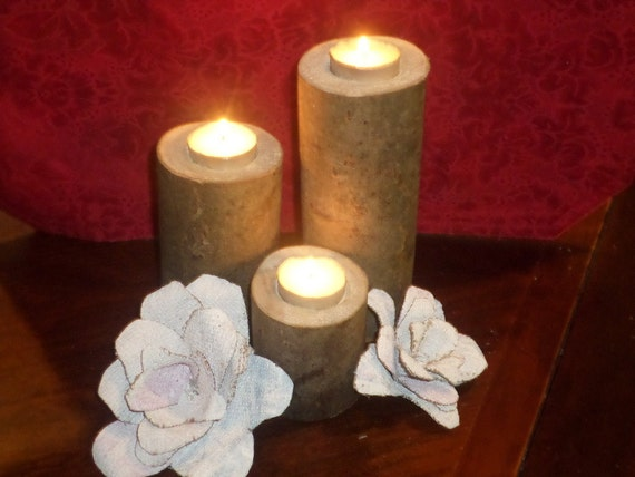 Items similar to wood candle holder white birch candles