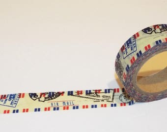 Airmail Japanese Washi Tape. Scrapbook. DIY tape. Pretty tape. Red, white, blue airmail washi tape.