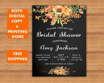Yellow Floral Black Chalkboard Bridal Shower Invitations Bridal Shower Printable Invitation Bridal Shower Printed Invite