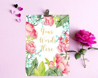 Custom Printable art Your Words Here Digital watercolor perfect gift