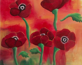 Red Poppies - Canvas Painting
