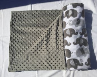 COZY - Customize Me! Elephant Fleece Baby Blanket with Gray Minky Dot Fleece, Gender Neutral Baby Blanket, Baby Shower Gift