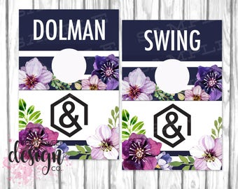 Agnes and Dora Clothing Rack Hanging Dividers, Style Name Divider for Clothes Racks, Agnes Dora Hanger Tags, Navy Purple Floral PRINTABLE