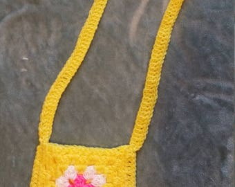 Bright Yellow, Pink and White Granny Square Purse