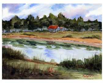 giclee, art print, river, cabin, nature, wall art, decoration, wall decoration, painting, unique, landscape art, painting, artwork, water