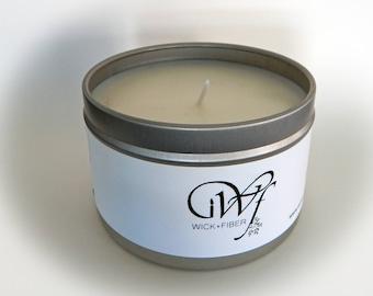 8 oz tin can Juniper Breeze soy candle