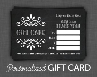 Gift Certificate Black - Gift Card - Personalized Gift Certificate - Black - Chalkboard