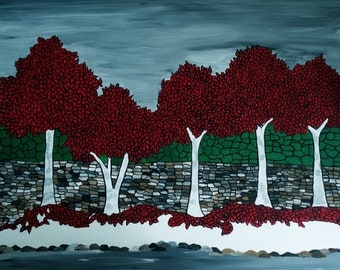 Red Trees, 16x20 original acrylic painting, framed canvas, home decor wall art, Autumn landscape, mosaic landscape,