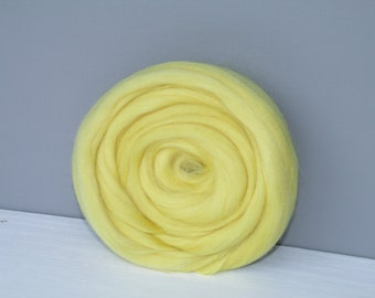 25g wool felting or spinning Merino carded to combed color lemon yellow
