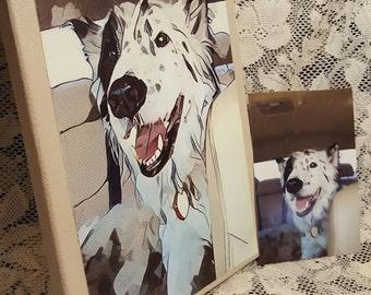 CUSTOM (8 x 10) Creative Pet Art Mounted on Canvas!