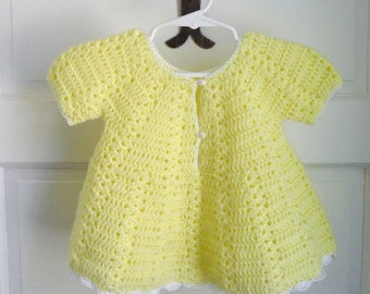 Crocheted Yellow Baby Dress
