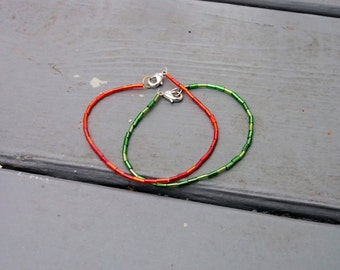 Green as Grass/ Red as Ruby bracelets