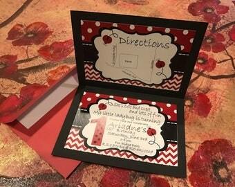 Ladybug 1st Birthday Invites
