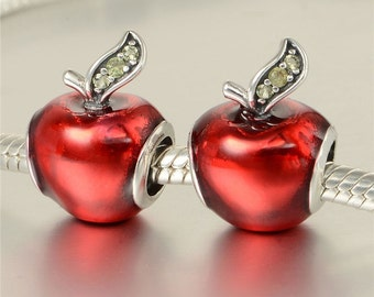 Authentic Sterling silver snowwhite red apple charm beads perfect fit for pandora and troll or european bracelets