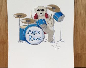 Polar bear drummer, signed giclee print 5x7 inch