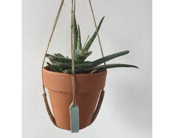 Hanging Planter - Cotton Twill and Cork