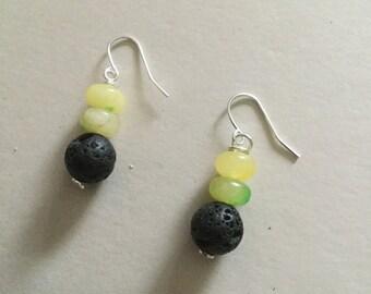 Lava and Yellow Quartz dangling earrings