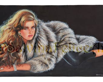 """Fine art digital printing, tempera and acrylic painted by my """"Glamour"""" portrait, art, art print, hair, girl, black, grey, painting"""
