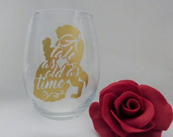 Beauty and the Beast- Vinyl wine glass