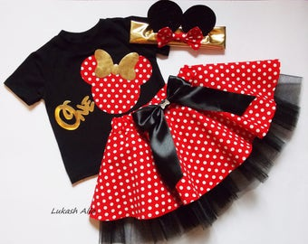 First Birthday Outfit, Minnie Mouse Birthday Outfit Tutu Dress, Minnie Mouse Ears, Red Minnie Mouse Tutu,Disney Birthday Outfit, Mouse