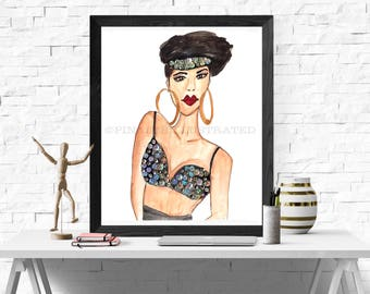 Selena Quintanilla, personalized gifts, Art Prints, PinalesIllustrated