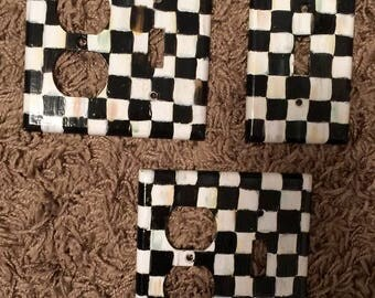 Whimsical black and white checks, Outlet Covers, Hand Painted Switch Plate Cover, Quad Gang Rocker, Triple Gang, Double Gang, Single Rocker