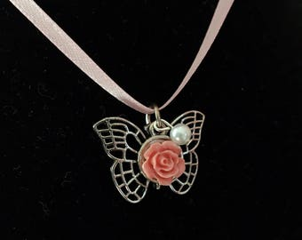 Butterfly Rose necklace - 14 inch