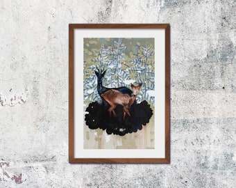 Clearing A4 print of original painting deer forest