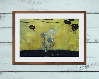 World save A4 print of original painting allegory dream