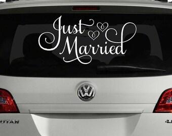 Just Married Wedding Car Window Sticker