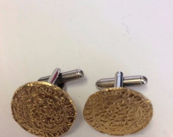 Edward III Quarter Noble Gilt WC15B Pair of Cufflinks Made From English Modern Pewter cuff link cufflink
