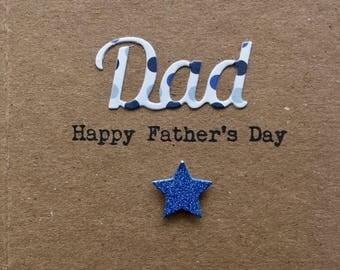 Fathers Day card. Handmade. Dad. Star.