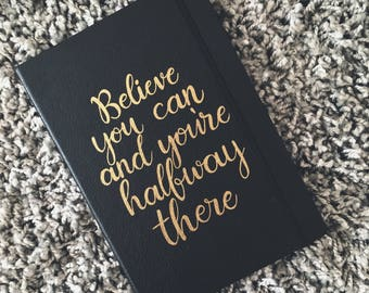 Believe - Black & Gold A5 plain paper notebook