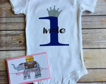 First Birthday Boy Onesie | Crown Prince | Custom Birthday Onesie | Baby Boy