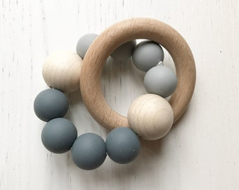 GREY ombre & BEECH • RATTLE Teether • Baby Gift • Teething Toy • Baby Shower •