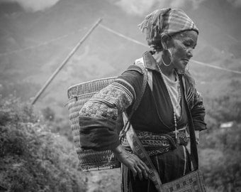 Black Hmong minority, Sapa, Vietnam - Print Photograph/Black and White/People/Travel Photography/Wall Art/Home Decor