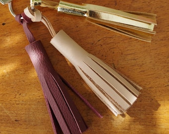 Paula pink and gold leather tassel keychain