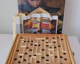 Vintage Brio Wood  Labyrinth Game in Original Box with Instructions and original Ball. Made in Sweden.Great Condition.
