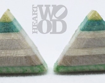 Recycled skateboard stud earrings