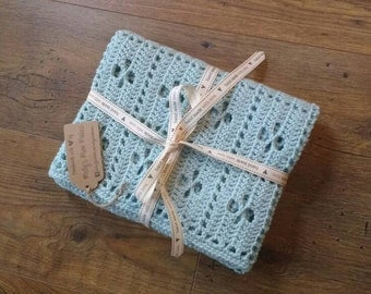 Crochet baby pram blanket in duck egg blue
