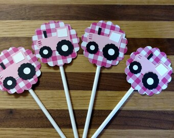 Pink Tractor Cupake Toppers