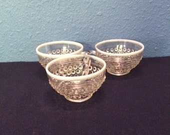 Vintage Anchor Hocking Moonstone Cups, Set of Three