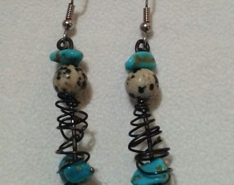 Black wire, turquoise & dalmatian jasper  earrings