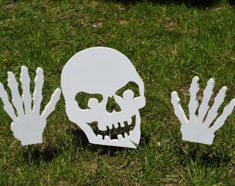 Halloween Skull and Hands Yard Stakes, Garden Stakes, Outdoor Halloween Decor, Lawn Stakes, Wood Painted Skull & Hands, Scary Garden Decor