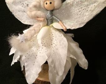 White Winter Flower Petal Fairy Doll, Wynter Fairy, Fairy Tail Doll, Handmade, Fairy Garden, Miniature, Whimsical Collectible, Winter Fairy