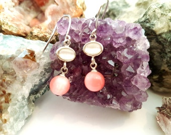 Pink and White Cats Eye Droplet Earrings