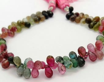 "1 strand Natural Multi TOURMALINE faceted drops shaped beads ,4x5 mm -- 4x7.5 mm ,8""strand[E0746] Tourmaline beads"